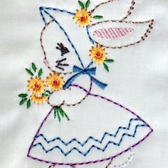 Girl Bunny baby kids Easter Machine Embroidery Design 44 AND 57 vintage colorwork linework q Embroidery Hoop Crafts, Embroidery Transfers, Embroidery Patterns Free, Hand Embroidery Designs, Vintage Embroidery, Embroidery Stitches, Embroidery Sampler, Baby Embroidery, Embroidery Tattoo