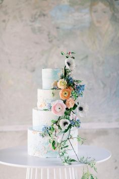 Garden Wedding Inspiration at North Mowing Estate in Vermont Black Wedding Cakes, Floral Wedding Cakes, Elegant Wedding Cakes, Elegant Cakes, Beautiful Wedding Cakes, Wedding Cake Designs, Cake Wedding, Floral Cake, Garden Wedding Cakes
