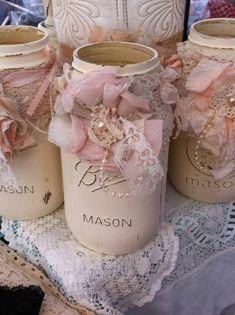 rosa mason gläser shabby chic deko selber machen hochzeitsdeko