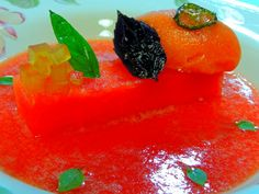 ... watermelon-lime-thai basil sorbet, fried basil, candied serrano pepper
