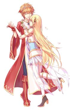 Freus and Mercedes_MapleStory Cute Anime Boy, Cute Anime Couples, Anime Love, Anime Guys, Anime Chibi, Anime Art, Maplestory 2, Image Mix, Anime Couples Drawings