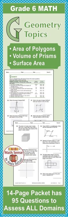 This comprehensive review packet contains questions on area, volume, surface area, and other Common Core topics for Grade 6. It's Form B, one of four parallel packets to use to monitor progress.