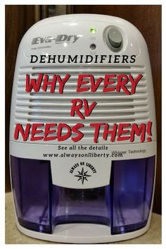 A camper and RV's worst enemy is water and moisture! These small portable dehumidifiers are perfect for small spaces; even in boat compartments. Every RV, motorhome, travel trailer, wheel, and camper van needs at least one. Mitigate mold growth before