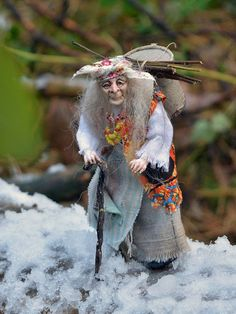 An old forest woman, Znaharka, Baba-Yaga, the Witch, Doll, miniature 1:12