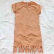 popupshop organic fringe dress - apricot