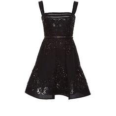 Elie Saab Embroidered Silk Georgette Short Dress ($7,445) ❤ liked on Polyvore featuring dresses, beaded mini dress, ruffle dress, sleeveless cocktail dress, embroidered dress and elie saab dresses