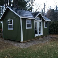 """This is West Quebec Shed Company """"Muskoka"""" model. It is a small cottage made with L. Smartside, custom thermo windows and doors. Custom Sheds, Small Cottages, Quebec, Windows And Doors, Outdoor Structures, Model, Small Cottage Homes, Quebec City"""