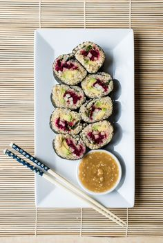 Quinoa Sushi Rolls with Miso Sesame Dipping Sauce