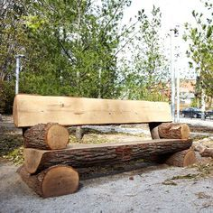 Full Log Park Bench, made from oak, outdoor furniture, natural furniture, log furniture Rustic Log Furniture, Garden Furniture, Log Chairs, Log Benches, Rustic Outdoor Benches, Rustic Wood Bench, Log Projects, Kids Picnic Table, Wood Logs
