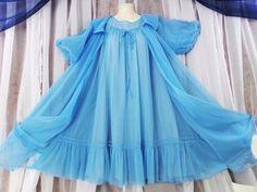 S.M. 2pc Vtg.Blue double chiffon sweep vintage baby doll nightie,peignoir #Shadowline