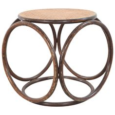 Round Bamboo Stool with Cane Top | From a unique collection of antique and modern side tables at https://www.1stdibs.com/furniture/tables/side-tables/