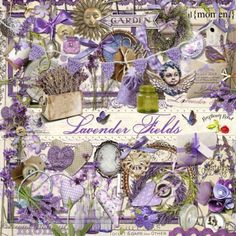 Raspberry Road Designs Lavender Fields Element Set - A huge set of Lavender themed embellishments designed to coordinate with the Lavender Fields collection. Lavender Fields, Lavender Flowers, Purple Flowers, Lavender Plants, Lavander, Flowers Garden, Decoupage, Garden Spells, Lavender Recipes