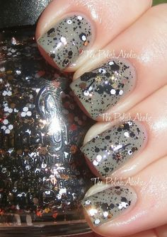 "China Glaze ""Boo-gie Down.""  Copper, black, and white glitter in a clear base"