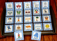 The Beach Vocabulary Cards are beach themed and include 22 vocabulary cards: crab, sand dollar, starfish, coral, sandals, sunglasses, chair, beach ball, snorkel, mask, bucket, shovel, sand, waves, seagull, umbrella, seashell, sandcastle, sunshine, flippers, and tree.  Vocabulary cards can be used for many vocabulary and language building activities, sorting and classification activities, alphabetizing and ordering activities, etc.