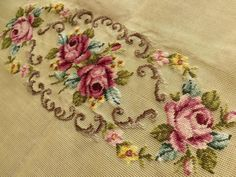 This list is for a SWEET PREWORKED needlepoint creation.SHABBY CHIC PINK roses with light brown/gray vines design, great for your piano bench.See photos for gr Silk Ribbon Embroidery, Vintage Embroidery, Embroidery Stitches, Embroidery Patterns, Hand Embroidery, Embroidery Techniques, Cross Stitch Rose, Cross Stitch Flowers, Cross Stitch Designs