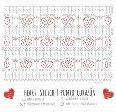 crochet heart stitch free pattern chart