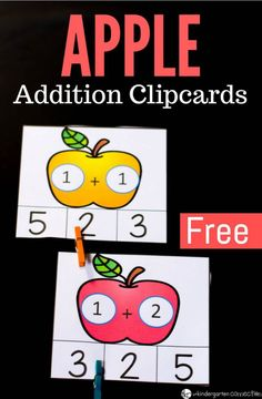 Free Printable Apple Addition Clipcards Fall Activity for Preschool and Kindergarten