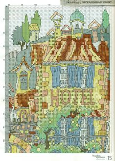 Gallery.ru / Фото #2 - Домики Прованса - mila010154 Michael Powell Cross Stitch, Cross Stitch Landscape, Le Point, Cross Stitching, Needlepoint, Cross Stitch Patterns, Vintage World Maps, Quilts, Embroidery