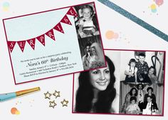 Milestone Birthday Surprise Party Invitation with Photos by silentlyscreaming on Etsy