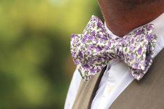 Mens bow tie Purple lilac Floral Cotton men's self tied