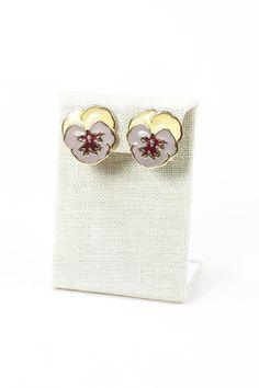 70's__Vintage__Enamel Flower Clip-on Earrings