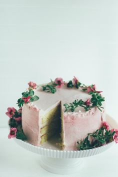 buttermilk cake with rhubarb buttercream and cardamom cream - The Vanilla Bean Blog---could make with something other than rhubarb since we don't have that
