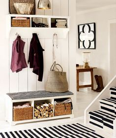 storage hallway. Really want shoes etc out of sight so baskets would be perfect.