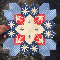 "203 Likes, 52 Comments - Jitka (@jitkadesign) on Instagram: ""Thinking nautical while hanging out by the lake. Enjoyed making this Honeycomb block ⚓️…"""