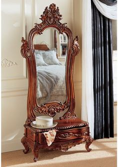 """Thornwood Manor"" Victorian dressing mirror from Design Toscano. Victorian Interiors, Victorian Furniture, Victorian Decor, Victorian Homes, Antique Furniture, Furniture Decor, Living Room Furniture, Furniture Design, Rustic Furniture"