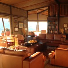 Wolwedans Dunes Lodge  Main lounge at sunrise