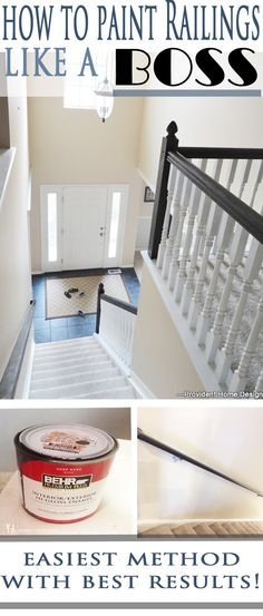 to Paint Stair Railings This is by far the easiest method of painting stair railings (no sanding or priming needed) and with flawless results! Provident Home Design will teach you how!Railing Railing or railings may refer to: Painted Stair Railings, Banisters, Bannister Ideas Painted, Black Painted Stairs, Black Stair Railing, Stair Banister, Home Renovation, Home Remodeling, Home Design