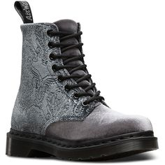 Dr. Martens Velvet 1460 Brocade Boots (7.605 RUB) ❤ liked on Polyvore featuring shoes, boots, grey, pattern boots, velvet shoes, print boots, velvet boots and goth boots