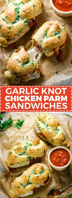 Garlic Knot Chicken Parmesan Sandwiches. Everything you love about a simple chicken parm, sandwiched between a jumbo garlic knot. How's that for dinner?   hostthetoast.com