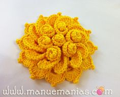 ergahandmade: Crochet Flower + Free Pattern Step By Step + Video