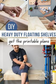 Simple and easy DIY floating shelf tutorial. Great detailed beginner friendly step by step instructions and plans to make a heavy duty strong floating shelf. Also includes full video. #woodworking #garage #organizing #AnikasDIYLife Scrap Wood Projects, Woodworking Projects That Sell, Woodworking Plans, Heavy Duty Floating Shelves, Narrow Shelves, Colorful Furniture, Diy Furniture, Build Your Own Shelves, Wood Working For Beginners