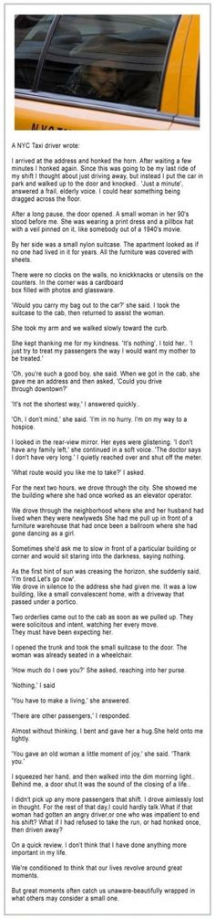 I usually hate sappy stories but this one is touching :p