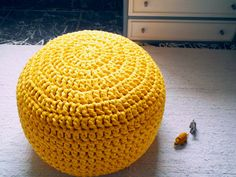 Yellow Sunset Nursery Ottoman Pouf Yellow Burnt by LoopingHome