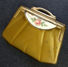 Ladies Powder Compact Art Deco Purse Shaped Pink Rose Enamel Panel Brass Vintage