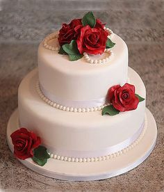 wedding cakes roses Cake 51 how to make Ruby Wedding Cake, Small Wedding Cakes, Beautiful Wedding Cakes, Wedding Cake Designs, Beautiful Cakes, Amazing Cakes, Bling Wedding, Beautiful Bride, 40th Wedding Anniversary Cake