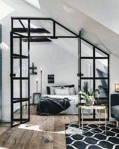 1001 ideas for the modern top floor apartment - attic apartment set up examples black white design bed bedroom - : ? 1001 ideas for the modern top floor apartment - attic apartment set up examples black white design bed bedroom - Industrial Interior Design, Home Interior Design, Interior Architecture, Urban Industrial, Industrial Decorating, Interior Ideas, Industrial Furniture, Industrial Apartment, Industrial Living