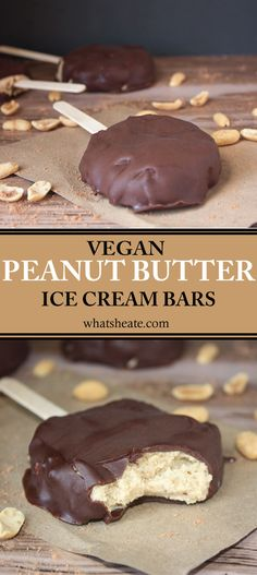 Creamy Peanut Butter Ice Cream Bars dipped in homemade chocolate #vegan #glutenfree #recipe