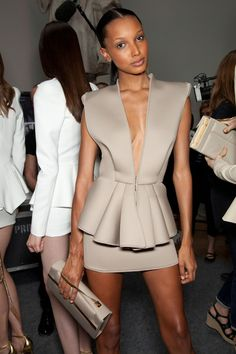 When scuba suits look couture I'm in! Jasmine Tookes backstage at Alexandre Vauthier Fall Haute Couture 2012 Image Fashion, I Love Fashion, Fashion Details, Passion For Fashion, High Fashion, Fashion Show, Womens Fashion, Dress To Impress, Beautiful Dresses