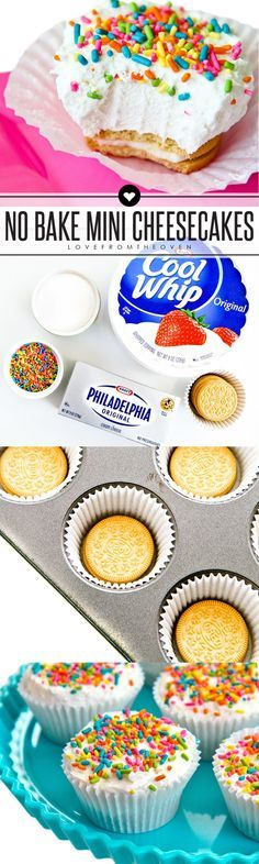 These easy no-bake mini cheesecakes look like adorable little cupcakes! No baking, Oreo cookies for crusts and switch up the sprinkles for different holidays, love this easy recipe! ba