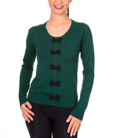 Another great find on #zulily! Forest Green & Black Bow Cardigan #zulilyfinds
