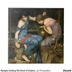 Nymphs Finding The Head of Orpheus Tile