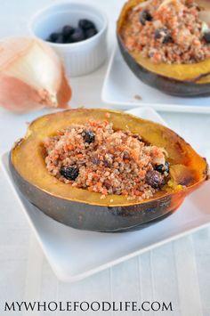 Quinoa Stuffed Acorn Squash.  The perfect Thanksgiving side dish.  Super easy, make ahead recipe.  Vegan and gluten free.