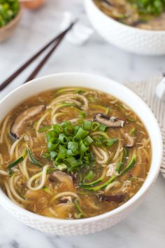 Ginger Zucchini Noodle Egg Drop Soup - adapted from the Inspiralized recipe. Uses shitake mushrooms instead of seaweed. Use an alternate thickener like xanthan instead of cornstarch though to make this low carb. (zoodles)