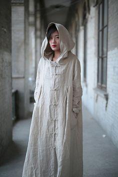 Linen dress Cotton dress Linen coat Hooded Long sleeve par Luckywu
