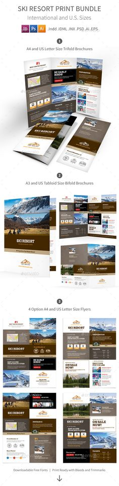 Ski  Snowboard Instructor  Tri Fold Brochure Template Design