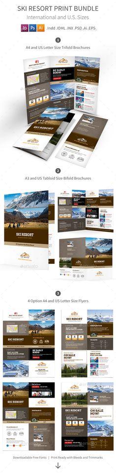 Ski & Snowboard Instructor - Tri Fold Brochure Template Design